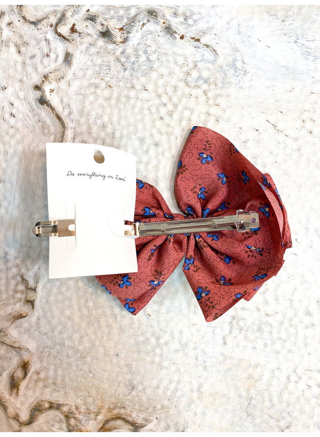 Mauve Floral Clip Bow