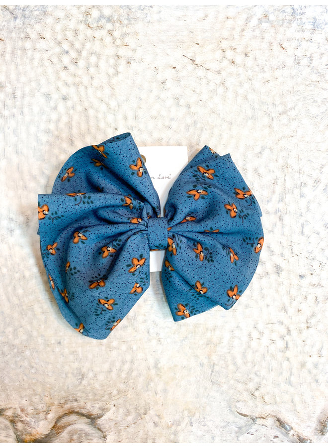 Teal Floral Clip Bow