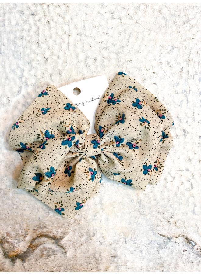 Cream Floral Clip Bow