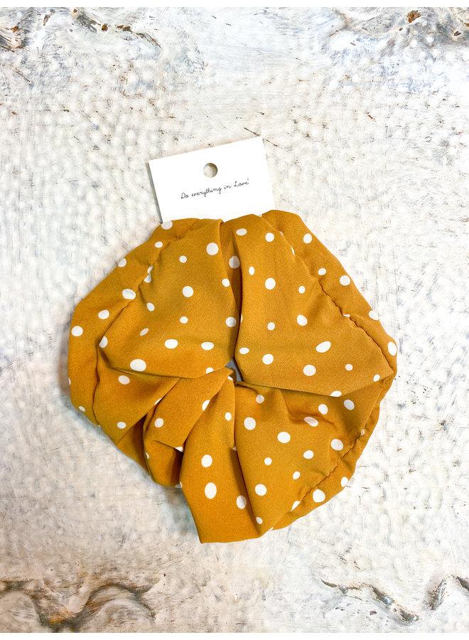 Jumbo Scrunchie - Mustard Polka Dot