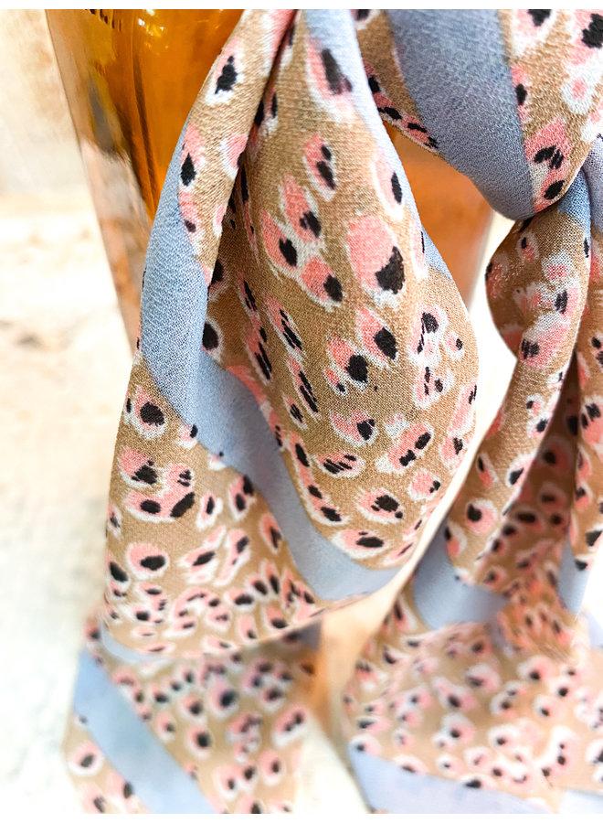 Pink Leopard Scrunchie Scarf