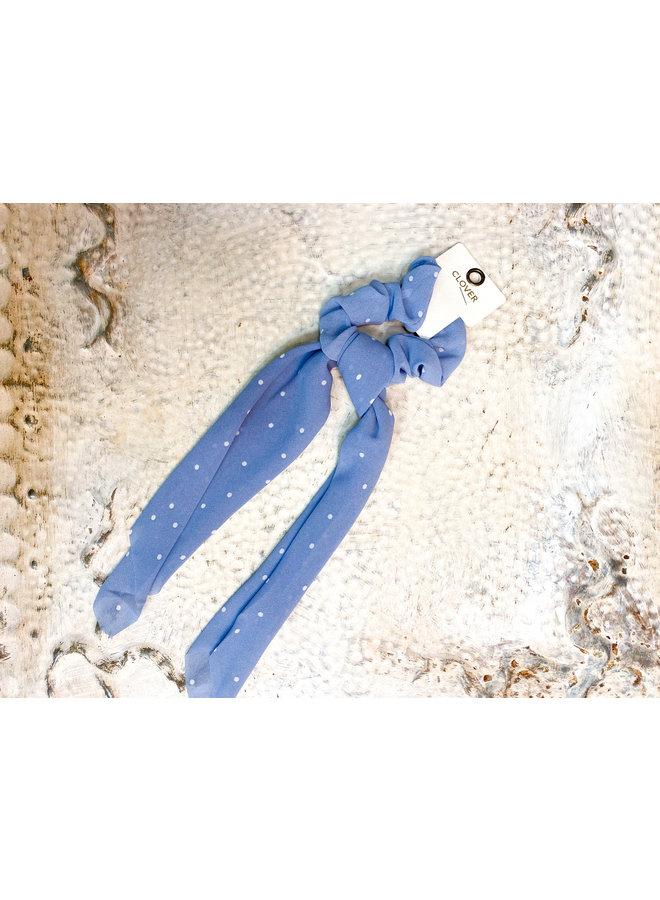 Blue Polka Dot Scrunchie Scarf