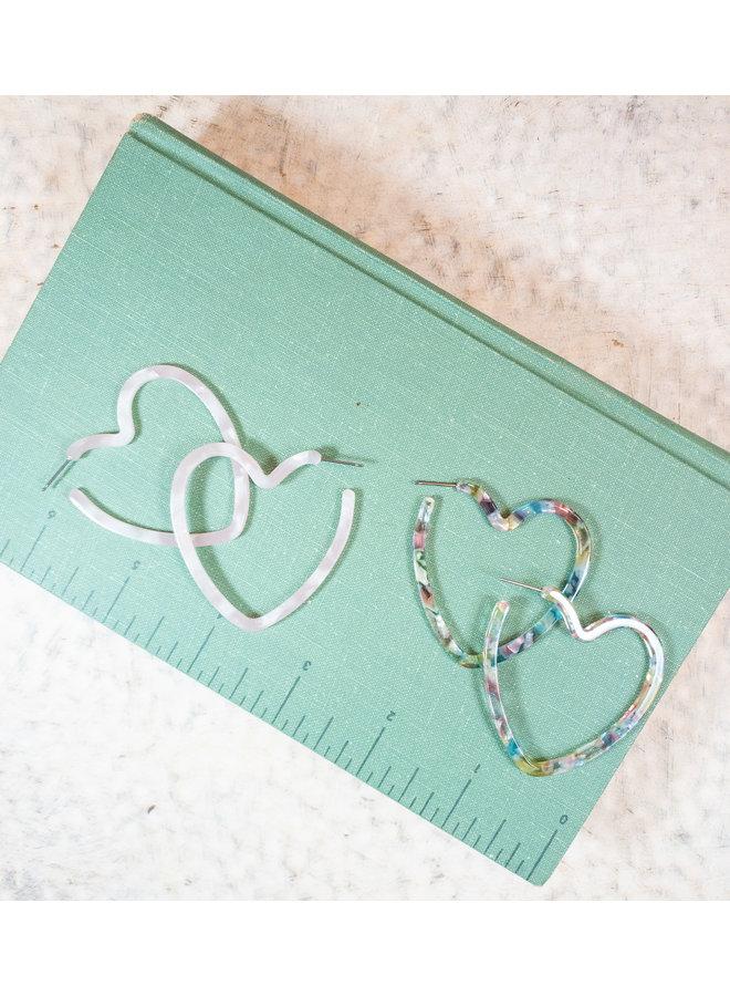 Acrylic Heart Hoops