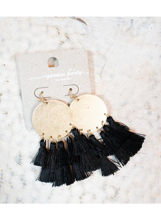 Mini Medallion Tassel Earrings