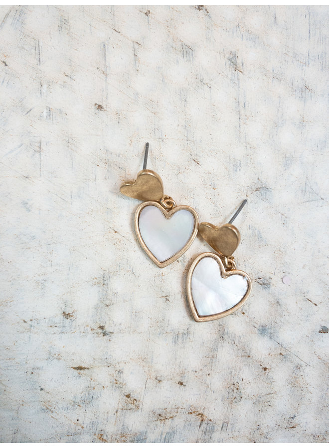 Heart Mother of Pearl Dangle Studs