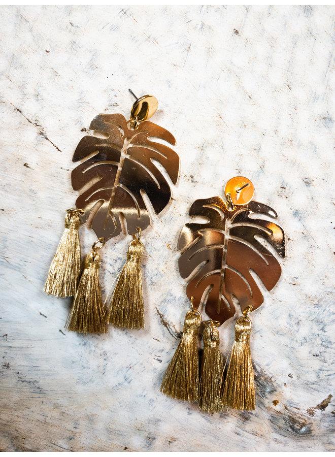 Gold Leaf Tassel Earrings