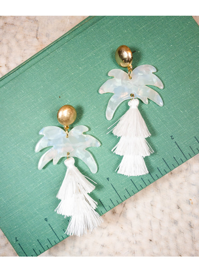 White Palm Tassel Earrings