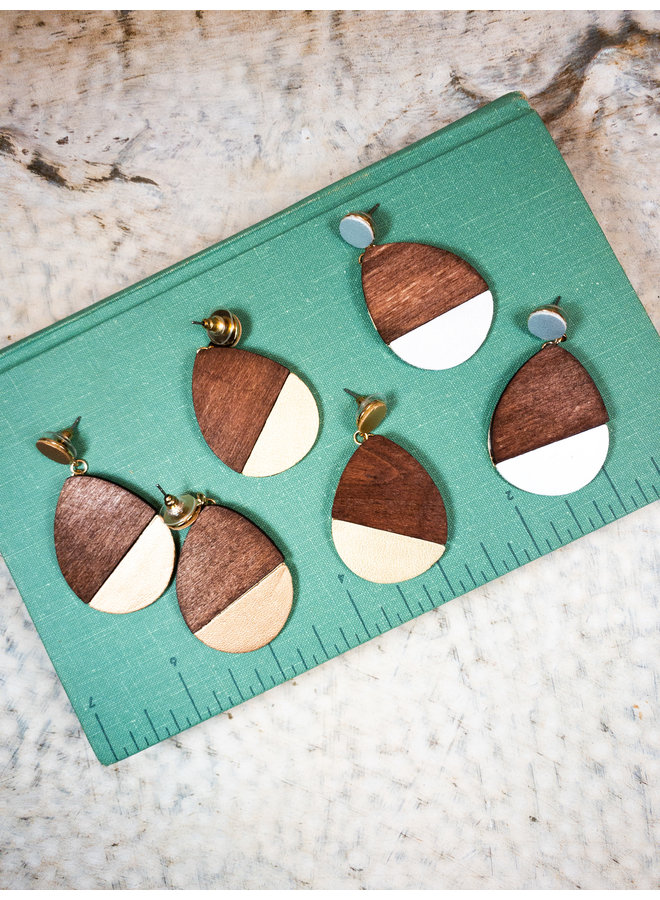 Wooden Tear Drop Earrings