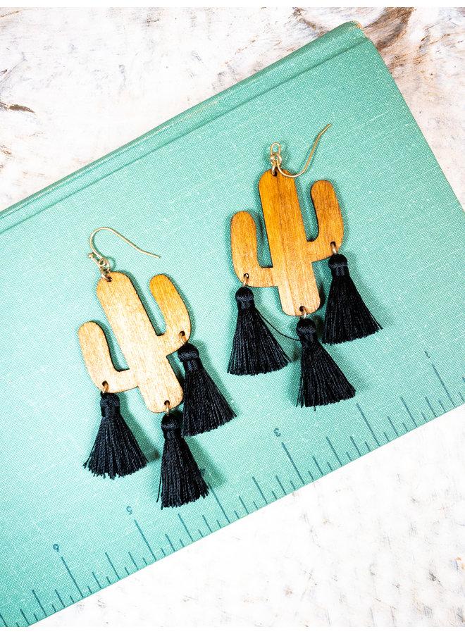 Wooden Cactus Tassel Earrings