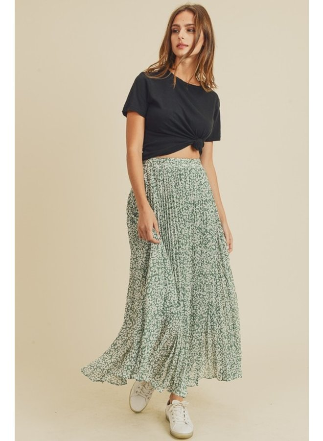 Dusty Sage Leopard Print Pleated Midi Skirt