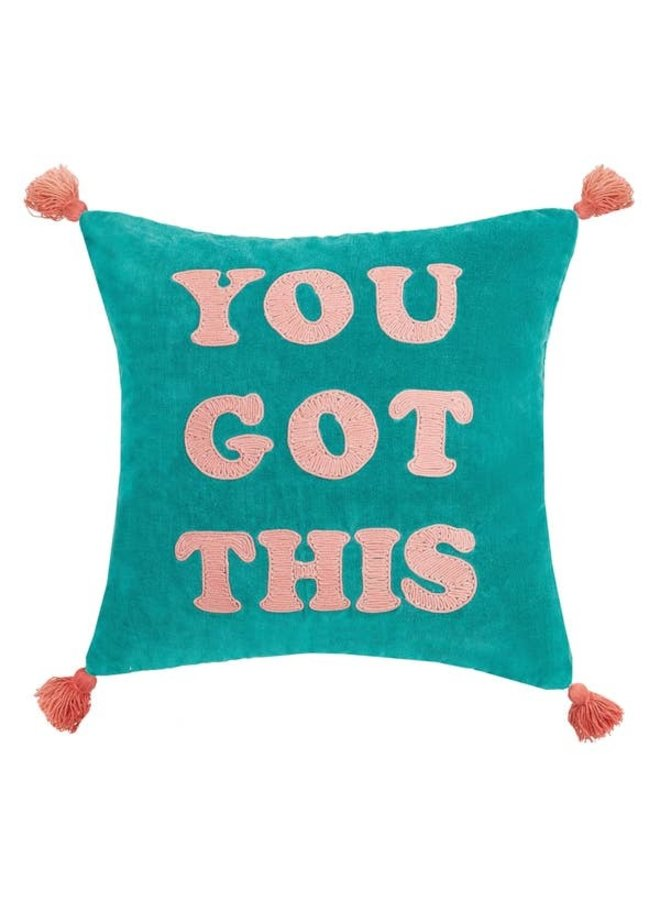 You Got This Tassels Embroidered Pillow, Blue Green