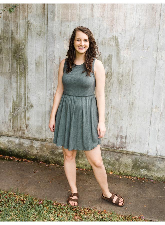 Green Sleeveless Mini Dress