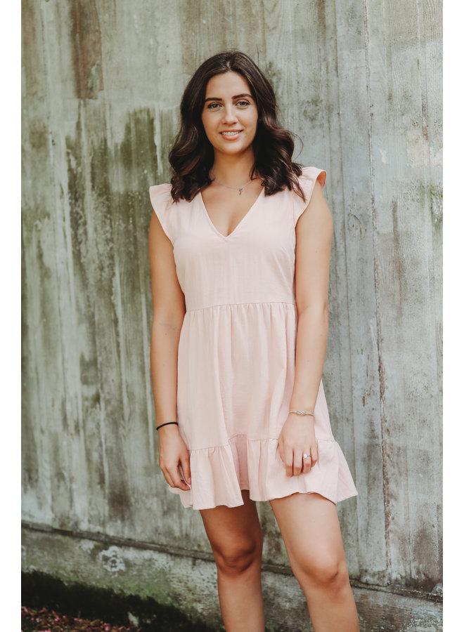 Pink Ruffle Sleeve Dress