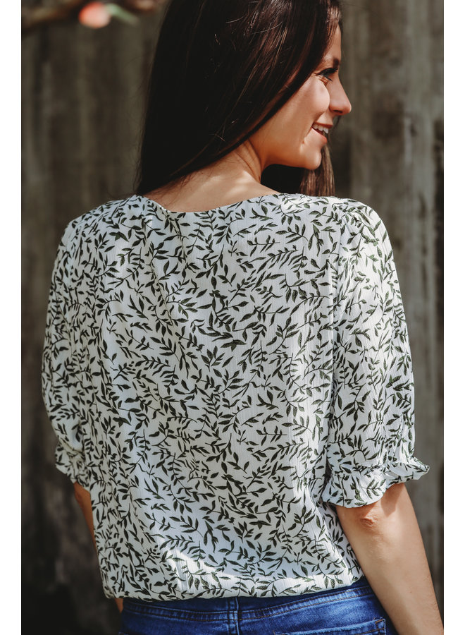 Roman Ruched Tie Front Blouse