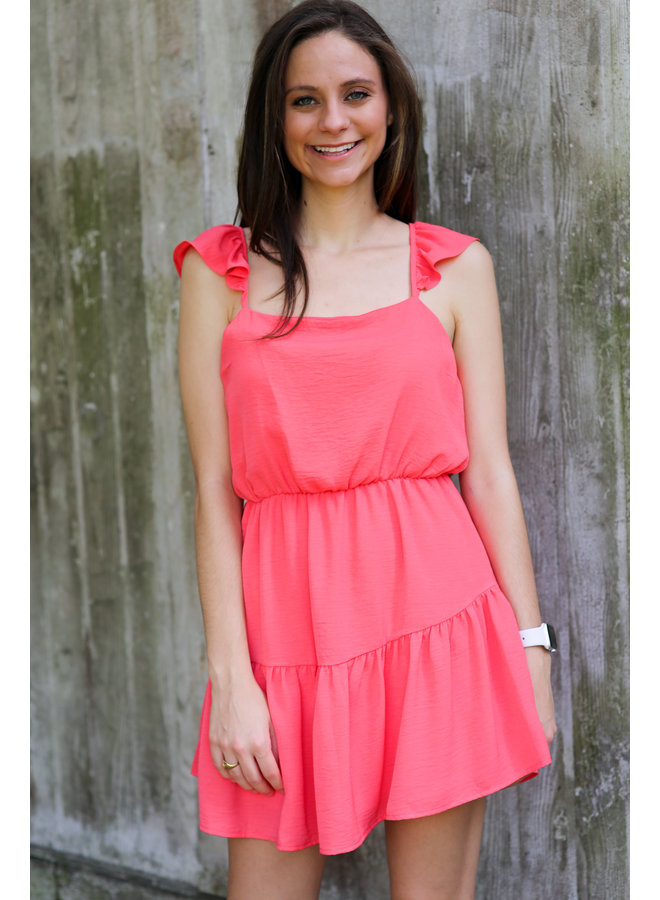 Coral Woven Mini Dress with Ruffle Straps and Tiered Hemline