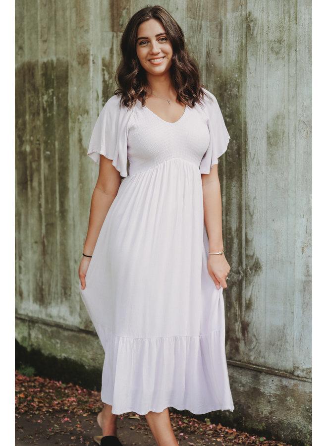 Pale Lilac Smocked Midi Flutter Sleeve Dress