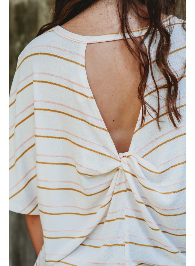Ivory Combo Kit Double Striped Back Twisted Top