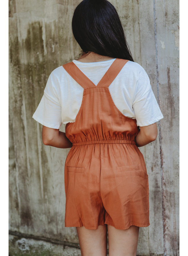 Rust Overall Style Romper with Waist Drawstring