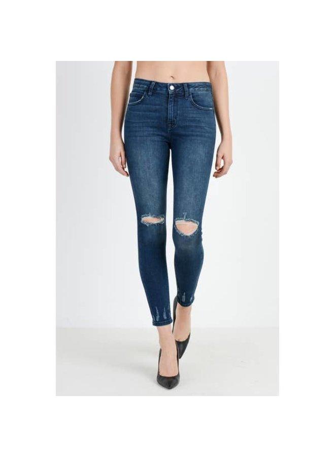 Dark Hi Rise Skinny Jeans with Destroyed Hem