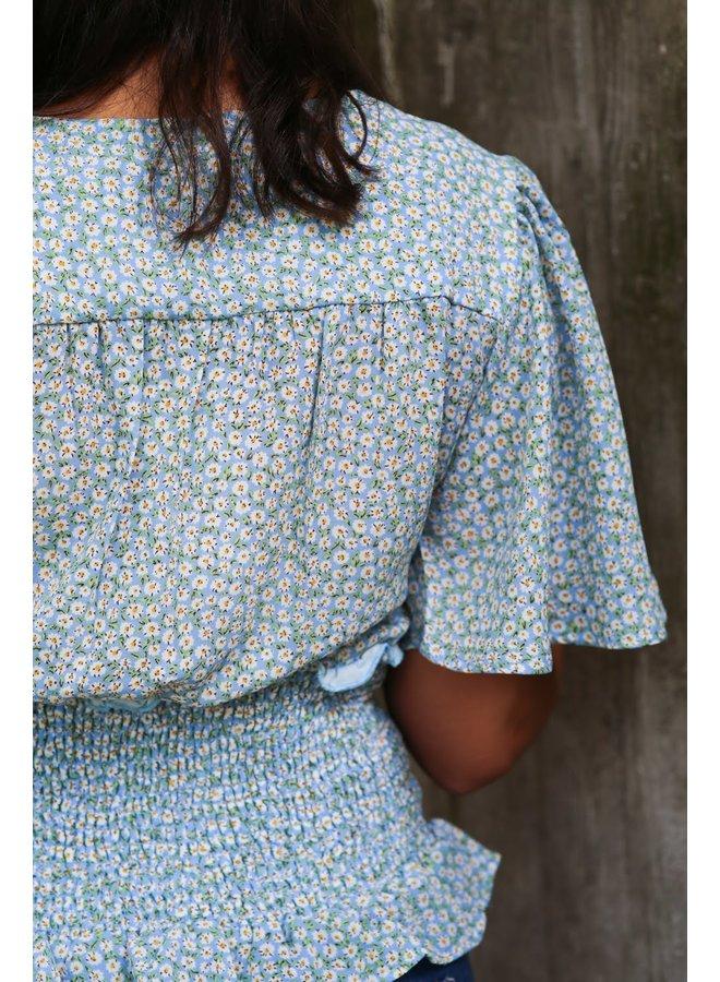 Smocked Kimono Sleeve Blouse