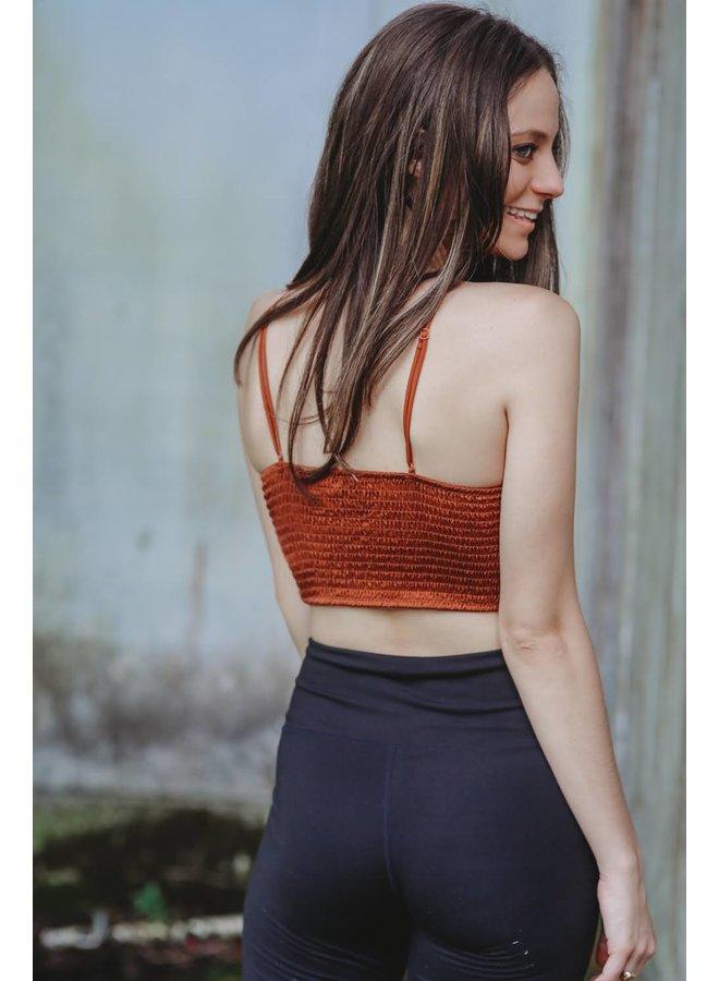 Crochet Lace Longline Bralette  Cinnamon