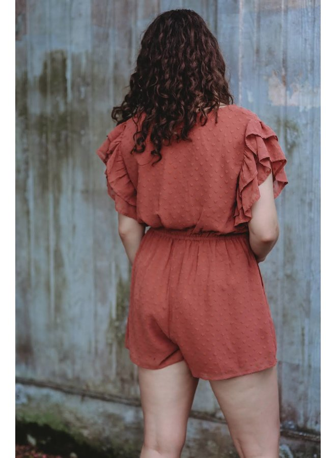 Embroidered Ruffle Sleeve Romper