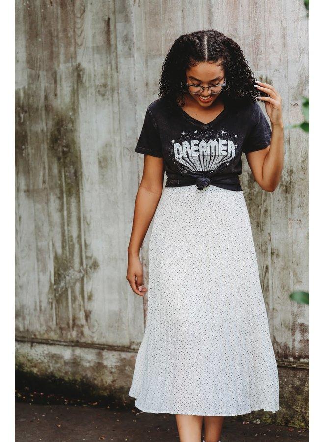 Ivory Pleated Midi Skirt