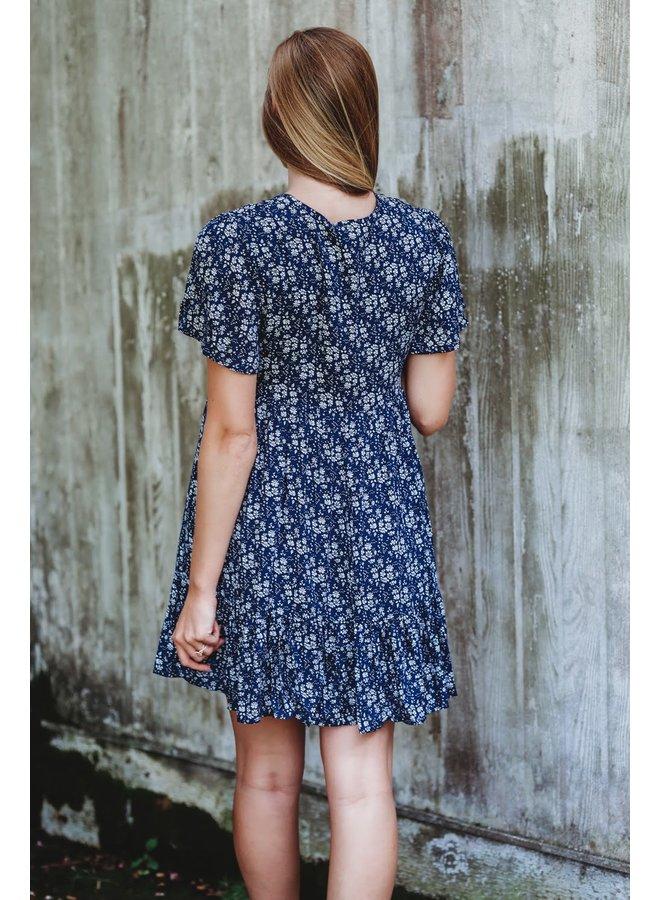 Blue Floral Babydoll Dress