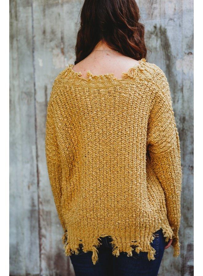 Distressed Hem Popcorn Sweater