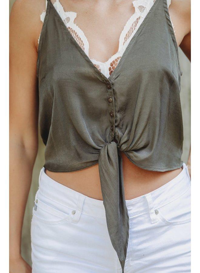 Olive Front Tie Crop Top