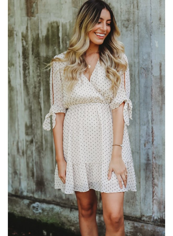 Swiss Dot Surplice Dress