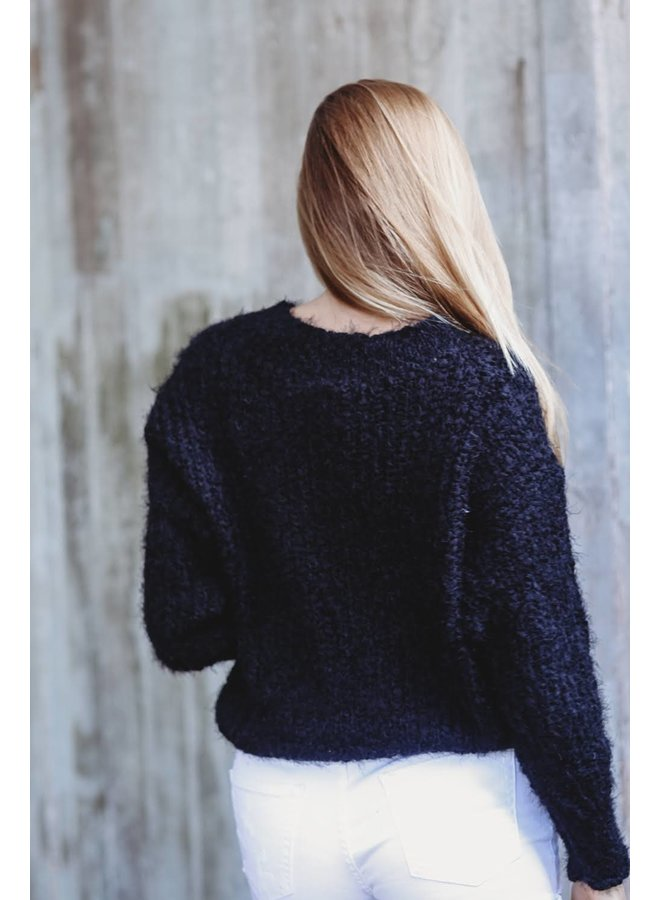 Fuzzy V-Neck Sweater