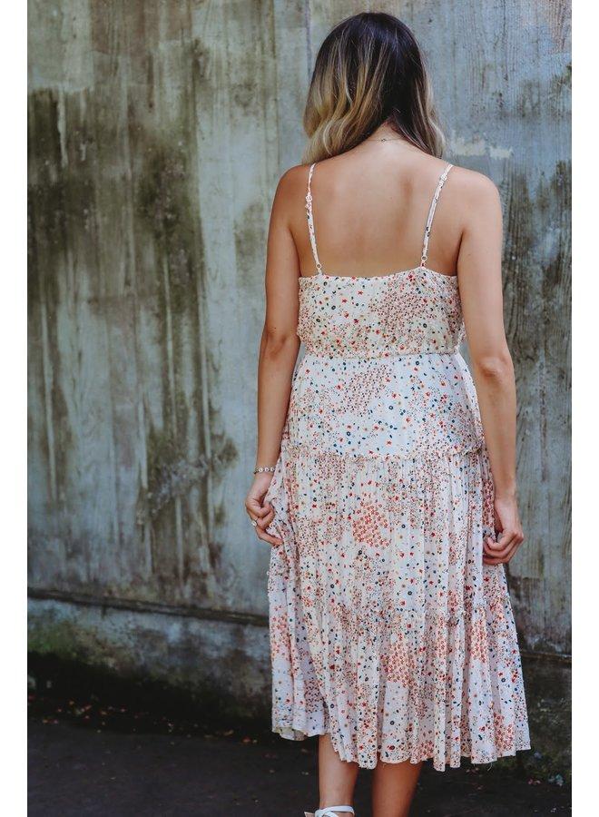 Ivory Midi Dress Printed Ruffle Sleeveless