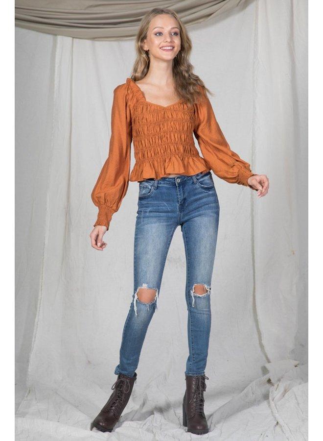Burnt Orange Scrunch Top