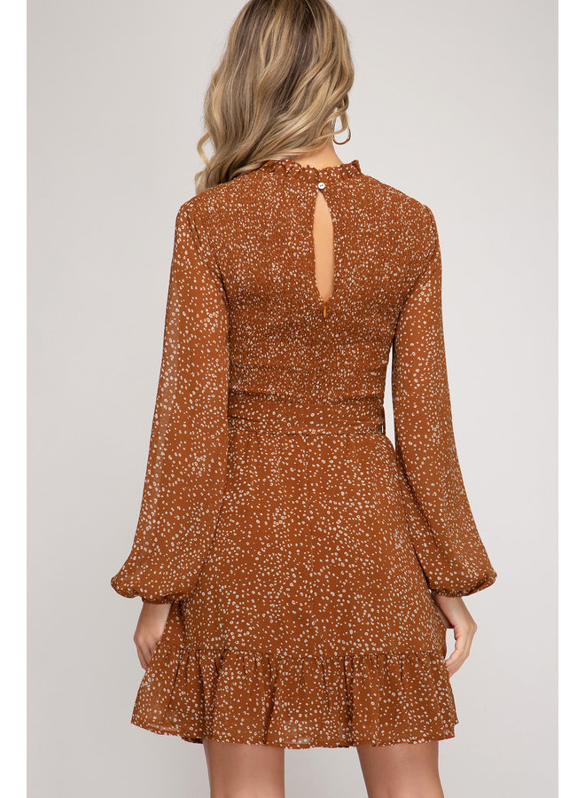 Cinnamon Scrunch Long Sleeve Dress