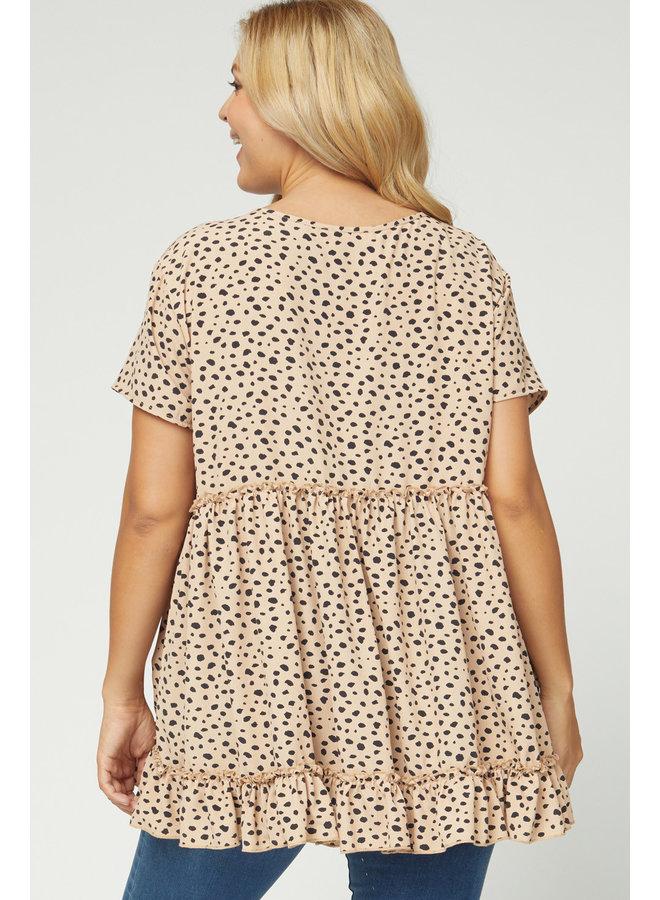 Taupe Cheetah Peplum Top