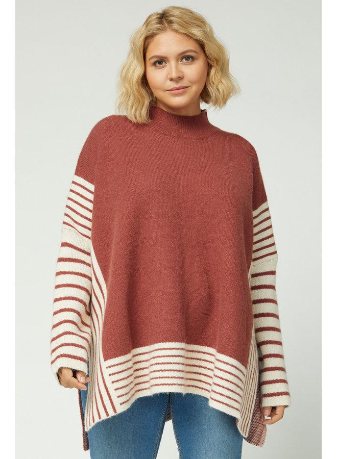 Marsala Striped Sweater w/ Mock Neck