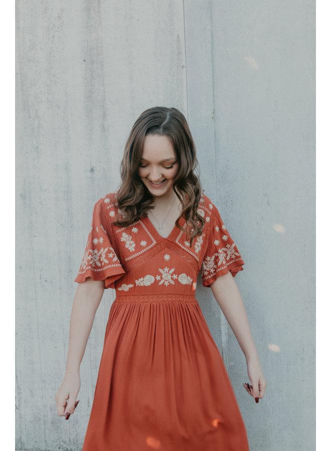 Embroidered Midi Dress - Rust