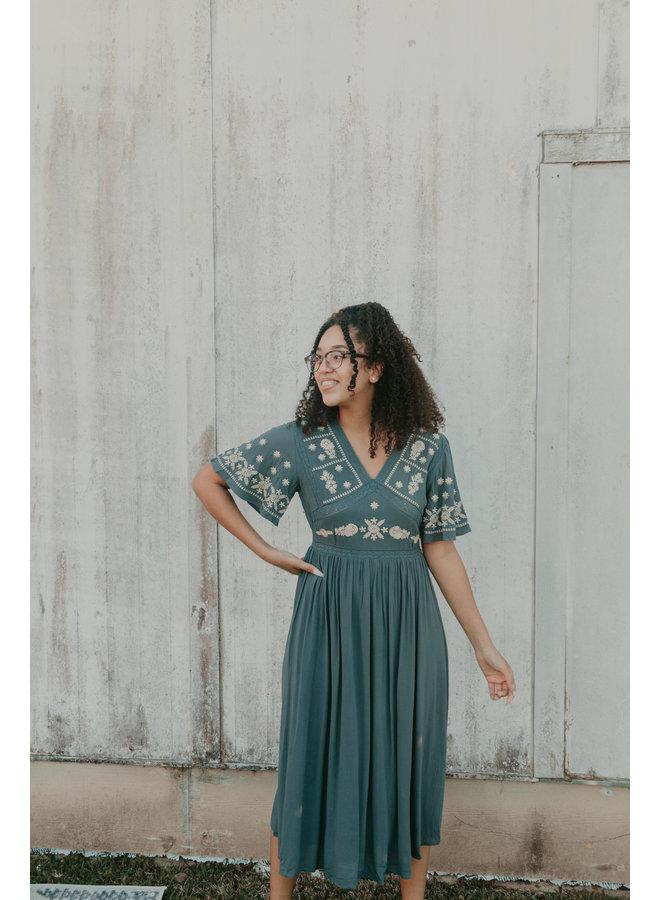 Embroidered Midi Dress - Slate