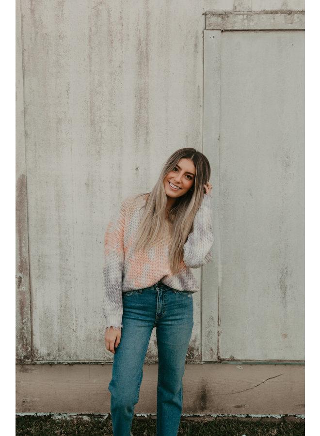 Frayed V Neck Oversize Fit Tie-Dye Sweater  Cornsilk/Peach
