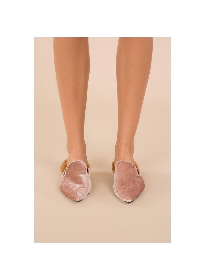 Pink Velvet Furry Mules