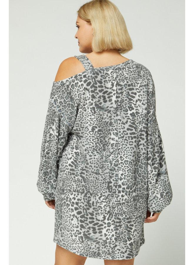 Grey Leopard Fuzzy Dress