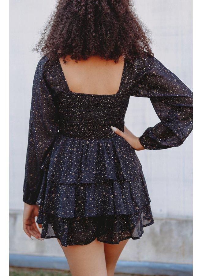 Black Starry Night Romper