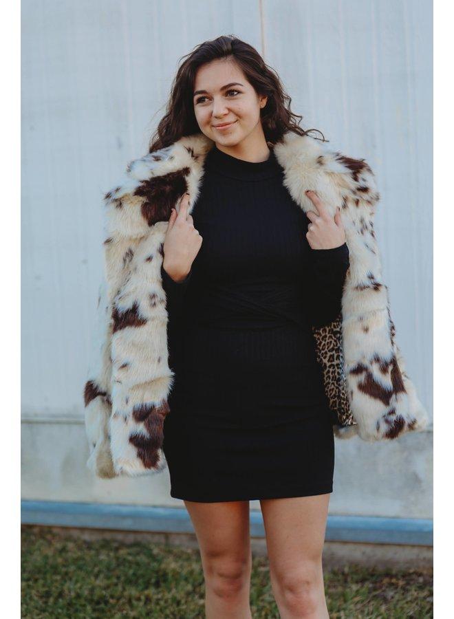 Cow Print Fur Coat
