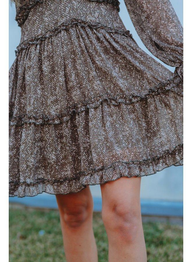 Olive Snake Ruffle Dress