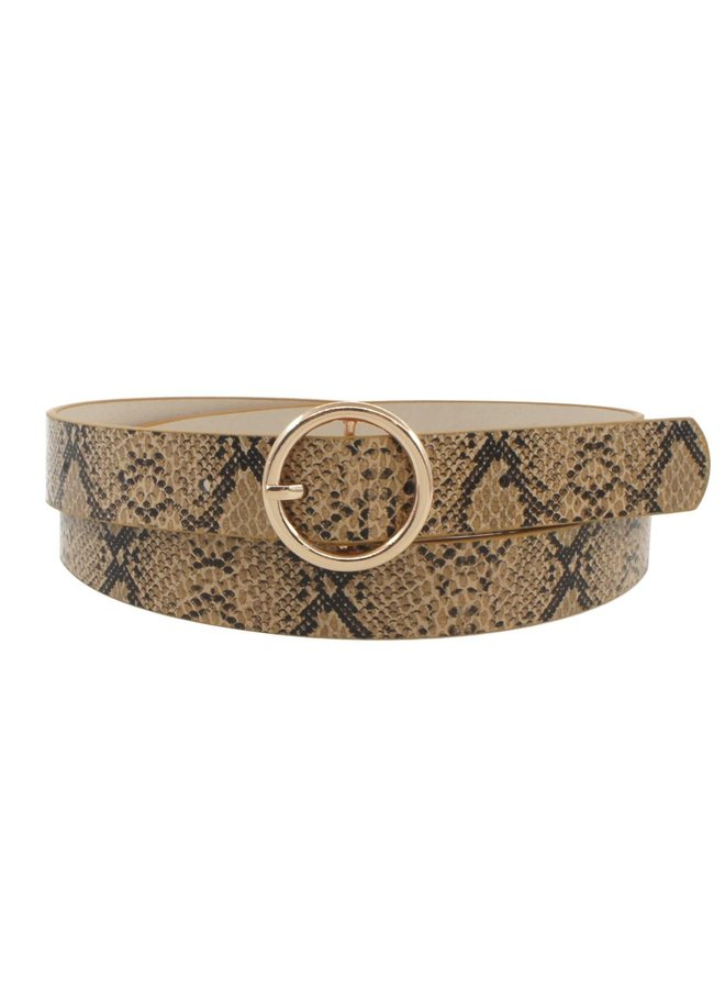 Simple O Ring Belt - Brown Snake