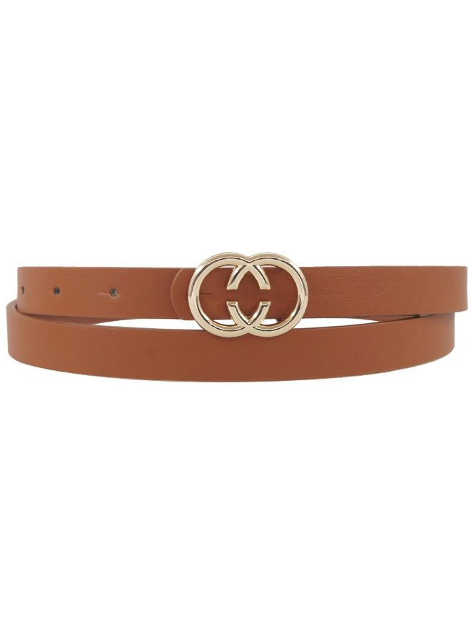 Thin CC Belt Khaki/Cognac