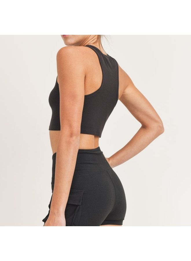 Black Essential Micro-Ribbed Cropped Racer Athleisure Tank Top