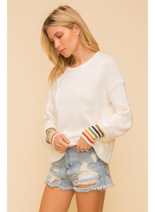 Rainbow Stripe Cuff Pullover Sweater