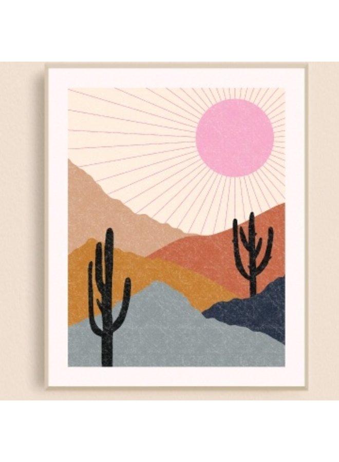 Pink Desert Sunburst Art Print